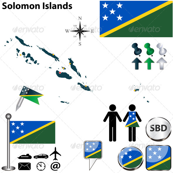 Map of Solomon Islands - Travel Conceptual