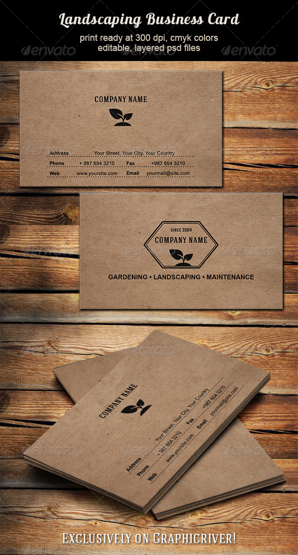 Landscaping Business Card - Industry Specific Business Cards