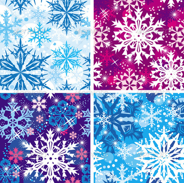 Set of Seamless Snowflakes Pattern - Christmas Seasons/Holidays