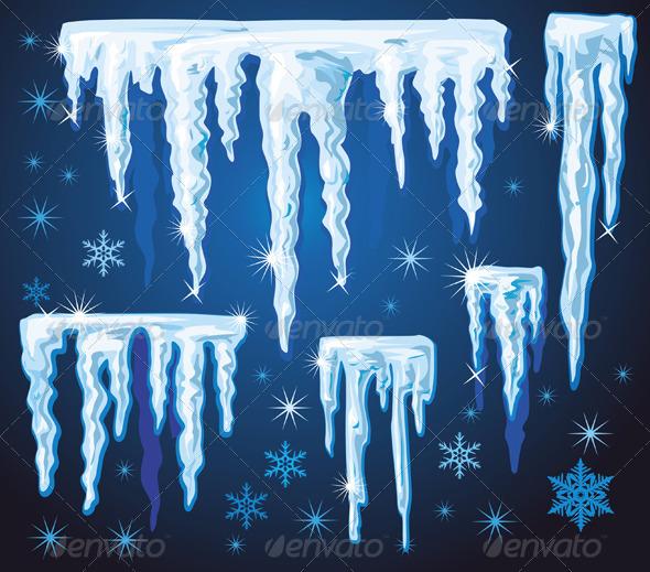 Set of Vector Icicles  - Christmas Seasons/Holidays