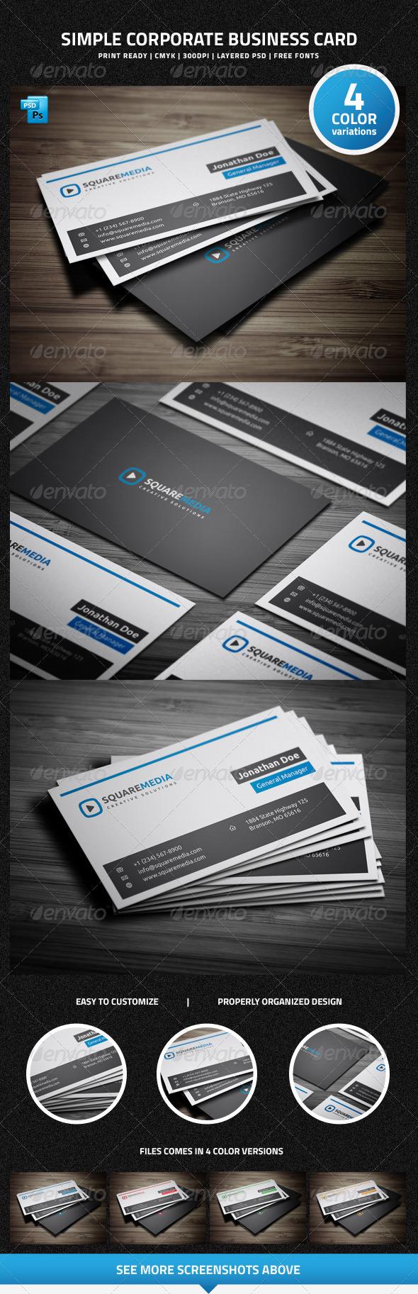 Simple Corporate Business Card - 18 - Corporate Business Cards