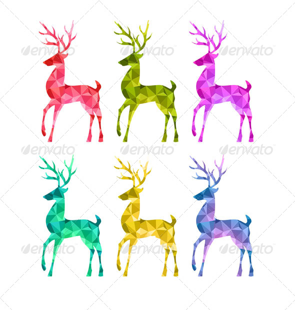 Merry Christmas Colorful Abstract Reindeer  - Christmas Seasons/Holidays
