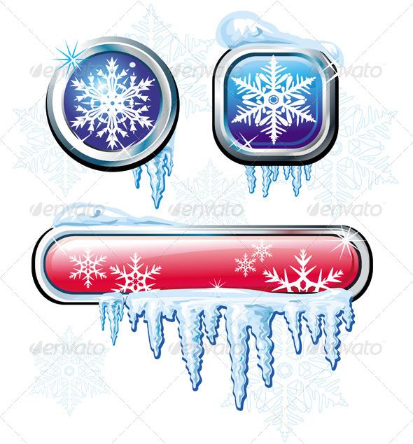 Winter Buttons  - Christmas Seasons/Holidays