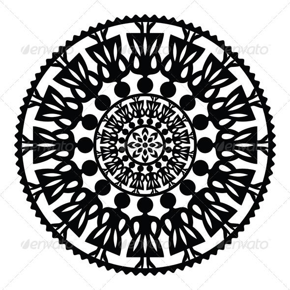 Polish Traditional Folk Women Pattern in Circle  - Patterns Decorative