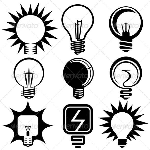 Electric Bulb Vector Icons Set - Miscellaneous Conceptual