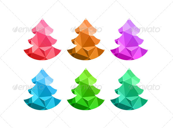 Merry Christmas Colorful Abstract Trees - Christmas Seasons/Holidays