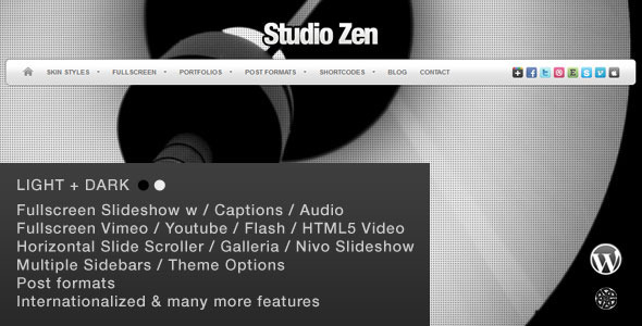 Studio Zen Fullscreen Portfolio WordPress Theme - Photography Creative