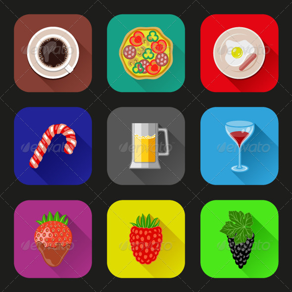 Food and Drinks Icons Set - Food Objects