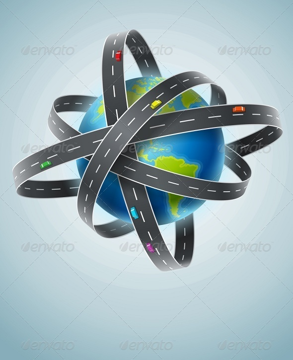 World Planet Circled by Net of Roads - Travel Conceptual