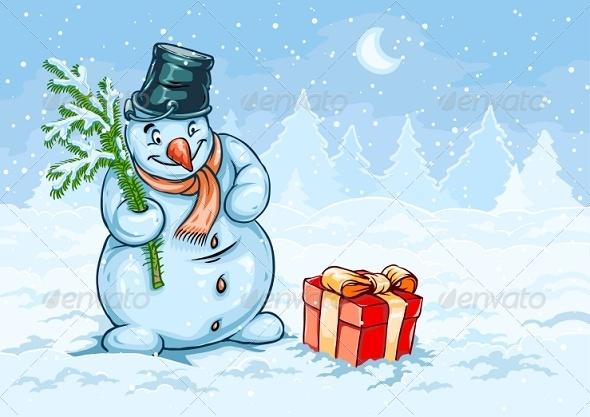 Christmas Snowman and Red Gift Box with Bow - Christmas Seasons/Holidays