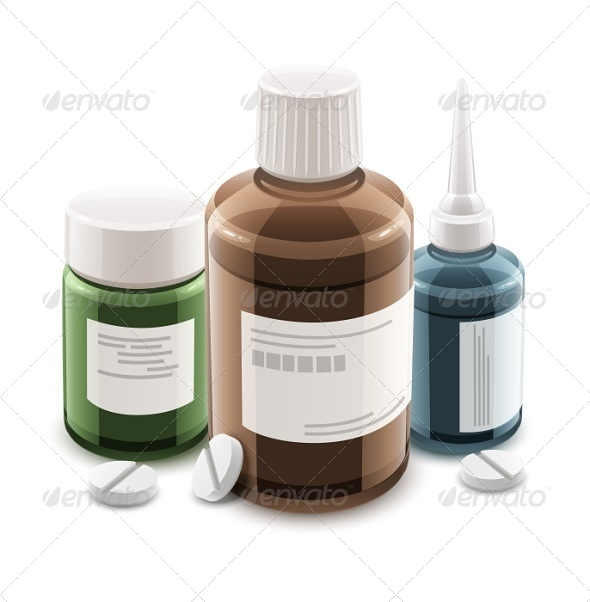 Bottles with Medical Drugs and Pills - Health/Medicine Conceptual