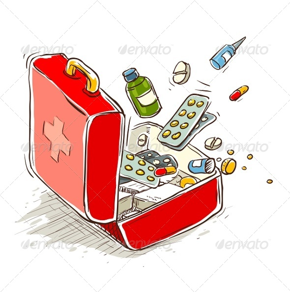 First Aid Box with Medical Drugs and Pills - Health/Medicine Conceptual