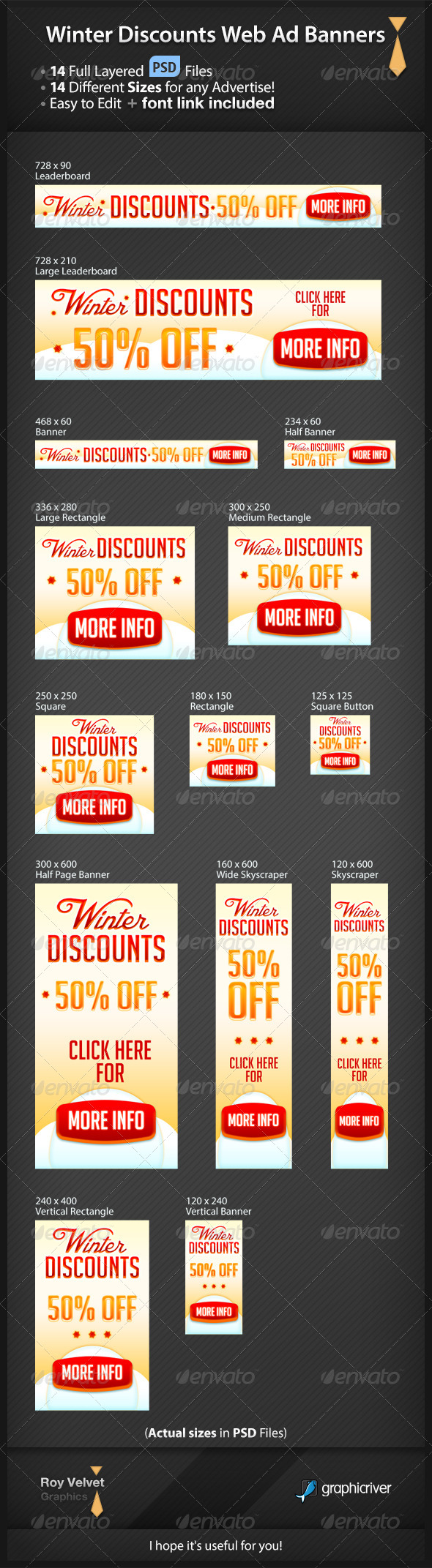 Winter Discounts Web Ad Banners - Banners & Ads Web Elements