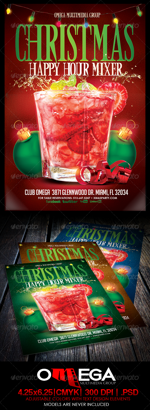 Christmas Happy Hour Mixer - Events Flyers