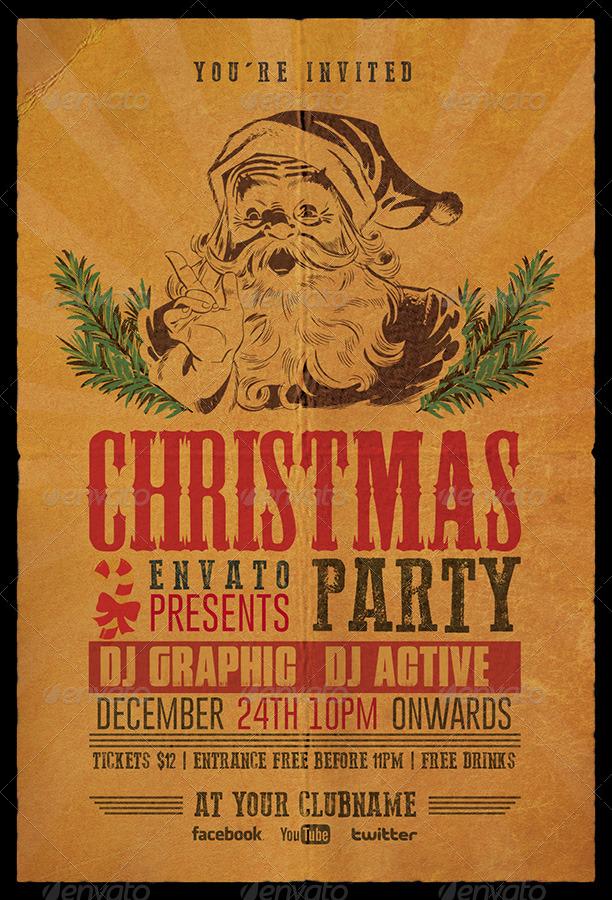Christmas Party Flyer / Invitation Retro by Dilanr | GraphicRiver
