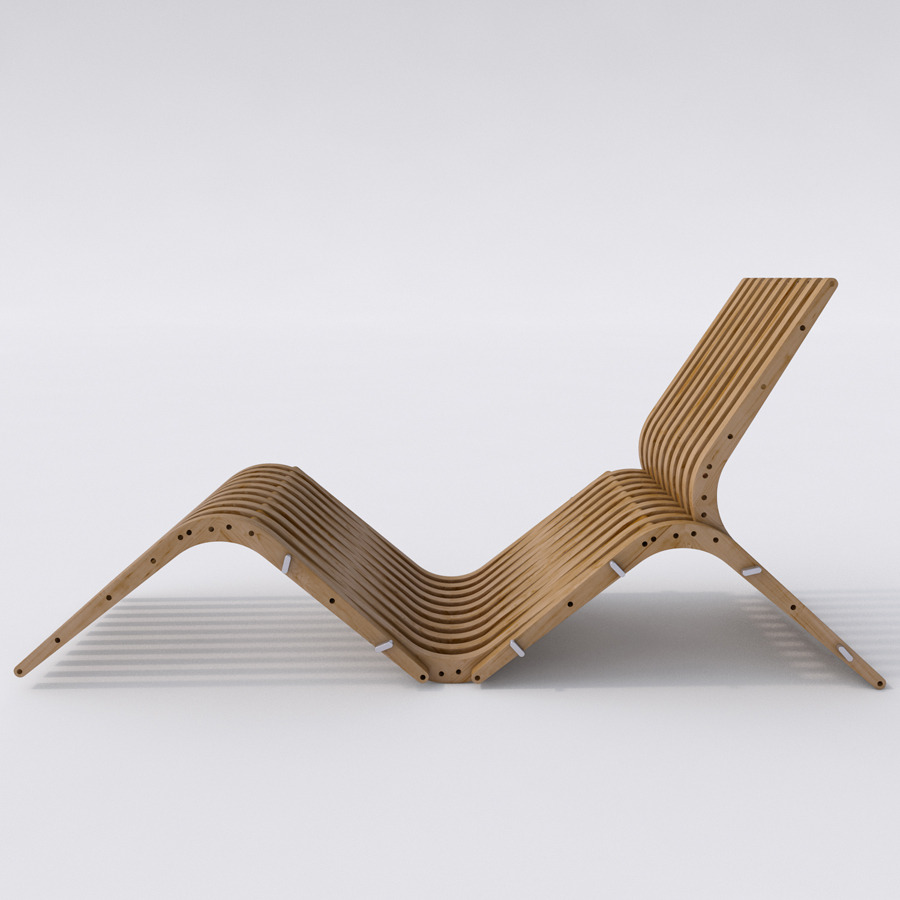 wooden chaise lounge boomerang by gyf a m 3docean. Black Bedroom Furniture Sets. Home Design Ideas