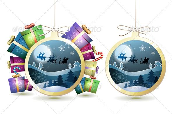Christmas with Gifts and Santa - Christmas Seasons/Holidays