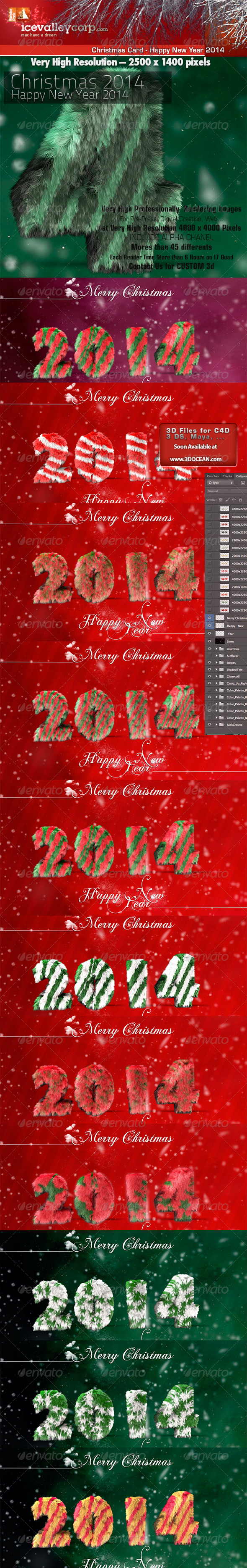 Greetings Merry Christmas-Happy New Year 2014 - Graphics