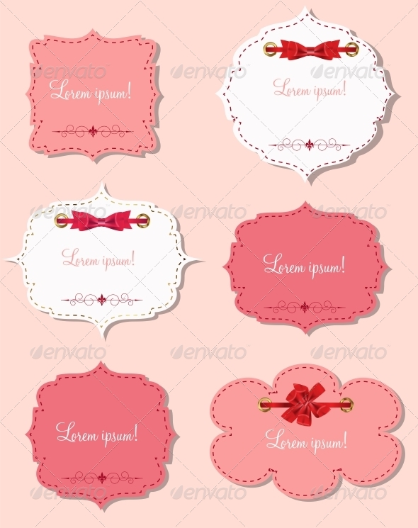 Set of Different Gift Cards with Ribbons - Valentines Seasons/Holidays