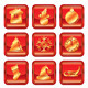 New Year Christmas Red Gold Icon Set - GraphicRiver Item for Sale