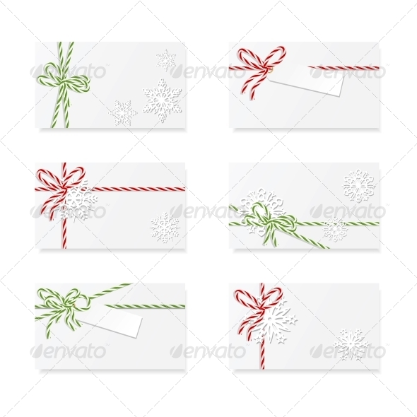 Christmas Card Notes with Gift Bows - Christmas Seasons/Holidays