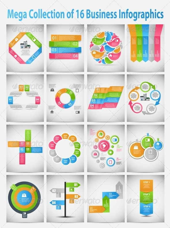 Mega Collection of Business Template Infographics - Web Technology