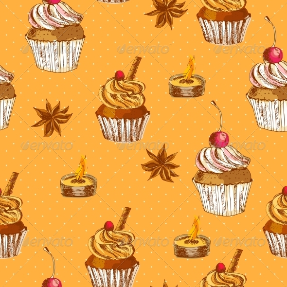 Seamless Background with Cupcake and Cinnamon - Patterns Decorative