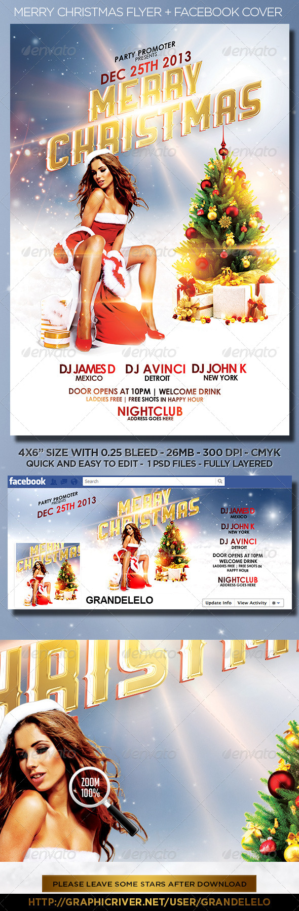 Merry Christmas Flyer + FB Cover  - Holidays Events