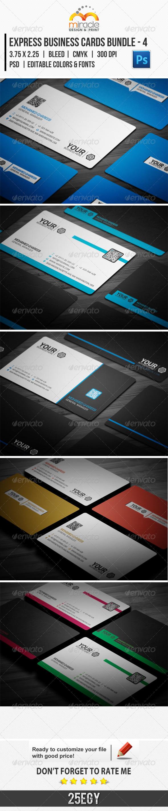 Express Business Cards Bundle - 4 - Business Cards Print Templates
