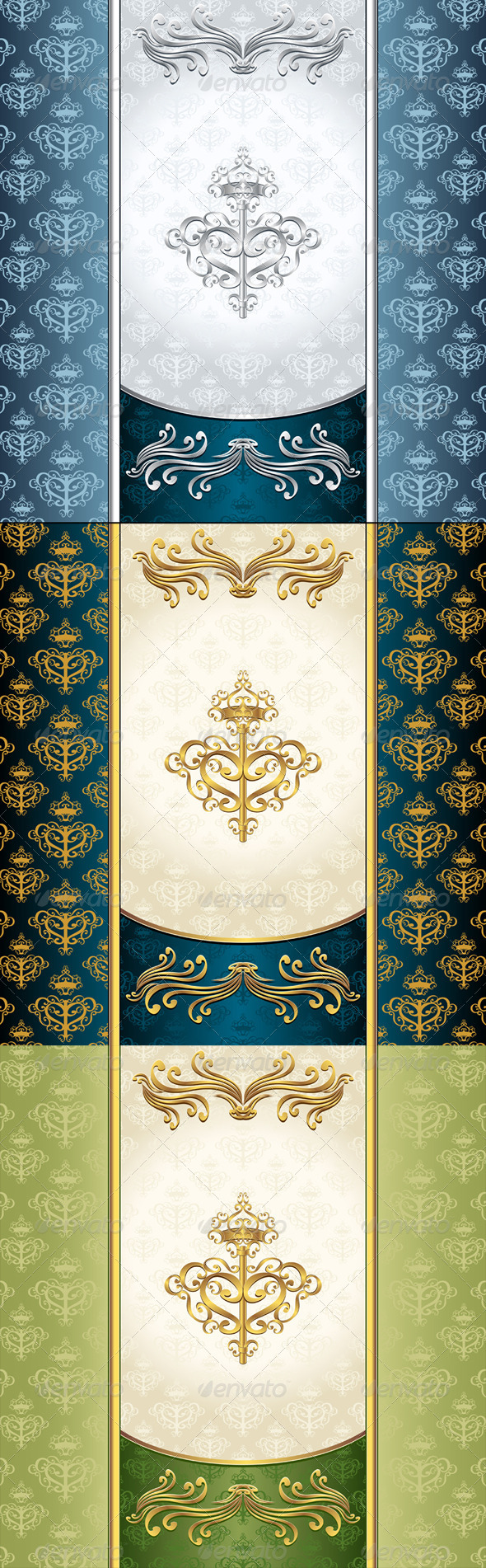 Royal Victorian Background with Seamless Pattern - Decorative Vectors