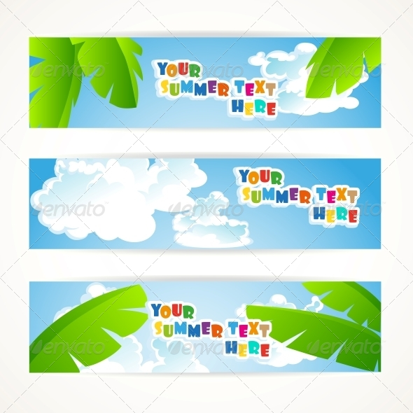 Sunny Summer Banner - Web Elements Vectors