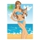 Woman with Hair in Blue Swimsuit - GraphicRiver Item for Sale