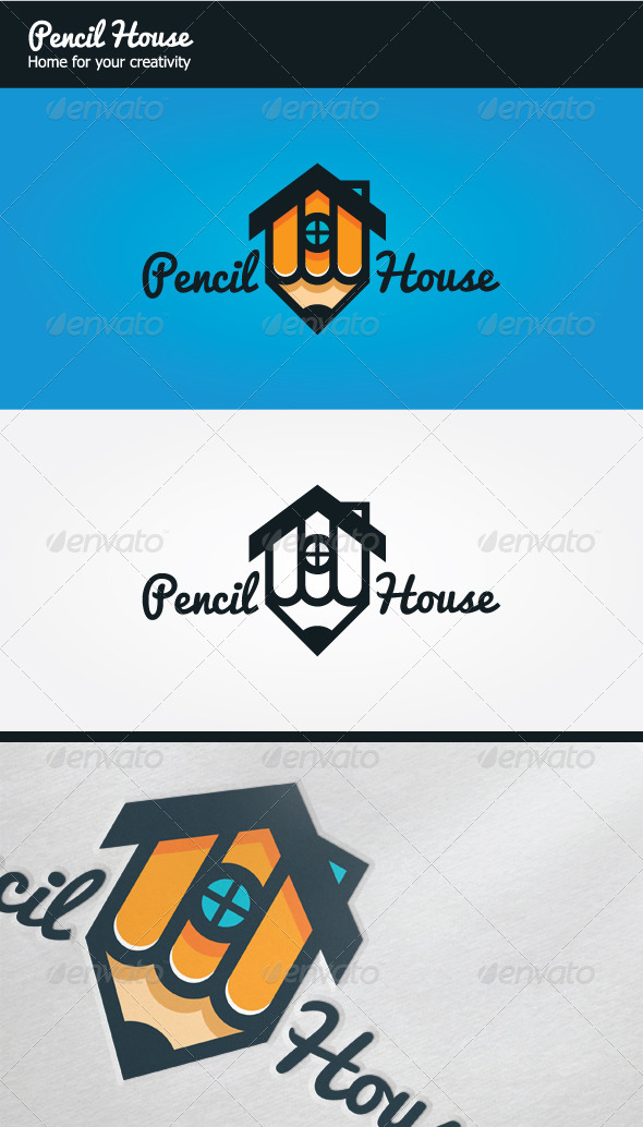 Pencil House Logo - Buildings Logo Templates