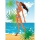 Tan Lady in Swimsuit at Sunny Beach - GraphicRiver Item for Sale