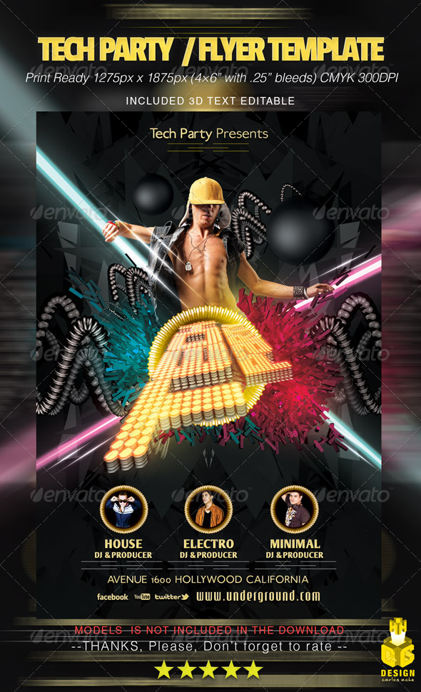 Tech Party / Flyer Template - Clubs & Parties Events