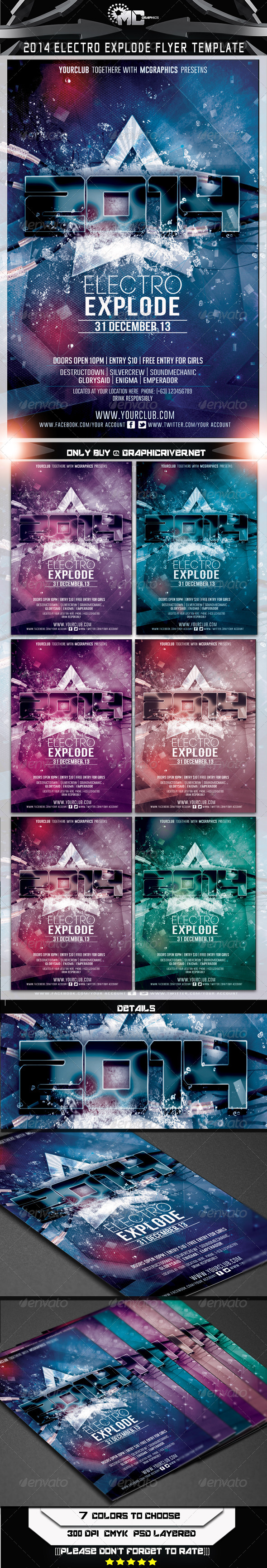 2014 Electro Explode Flyer Template - Events Flyers