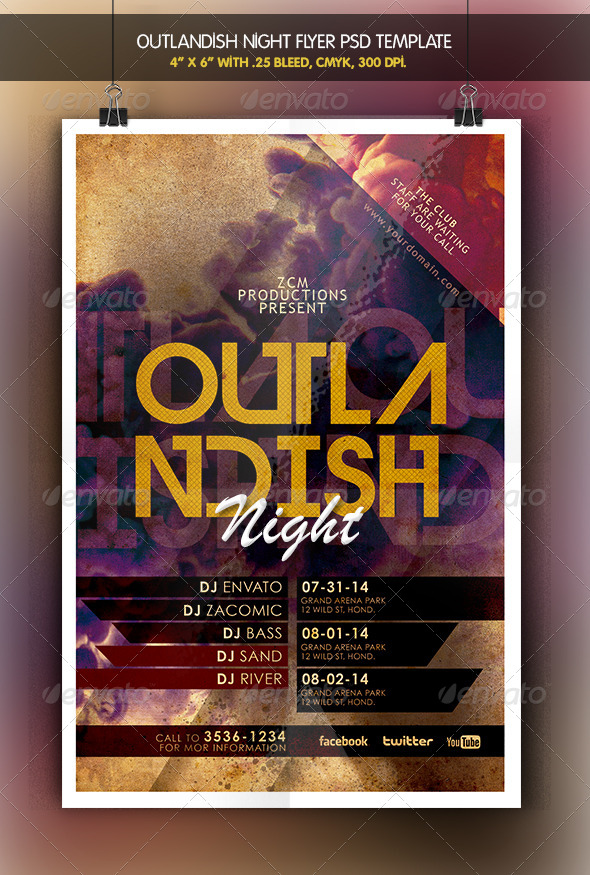 Outlandish Night Flyer - Clubs & Parties Events