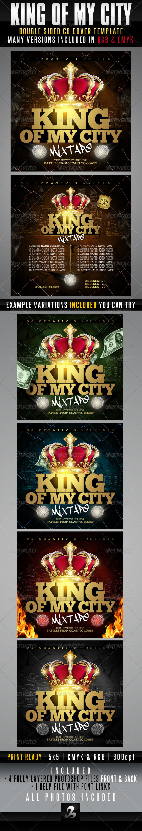 King Of My City Mixtape CD Cover Template - CD & DVD Artwork Print Templates