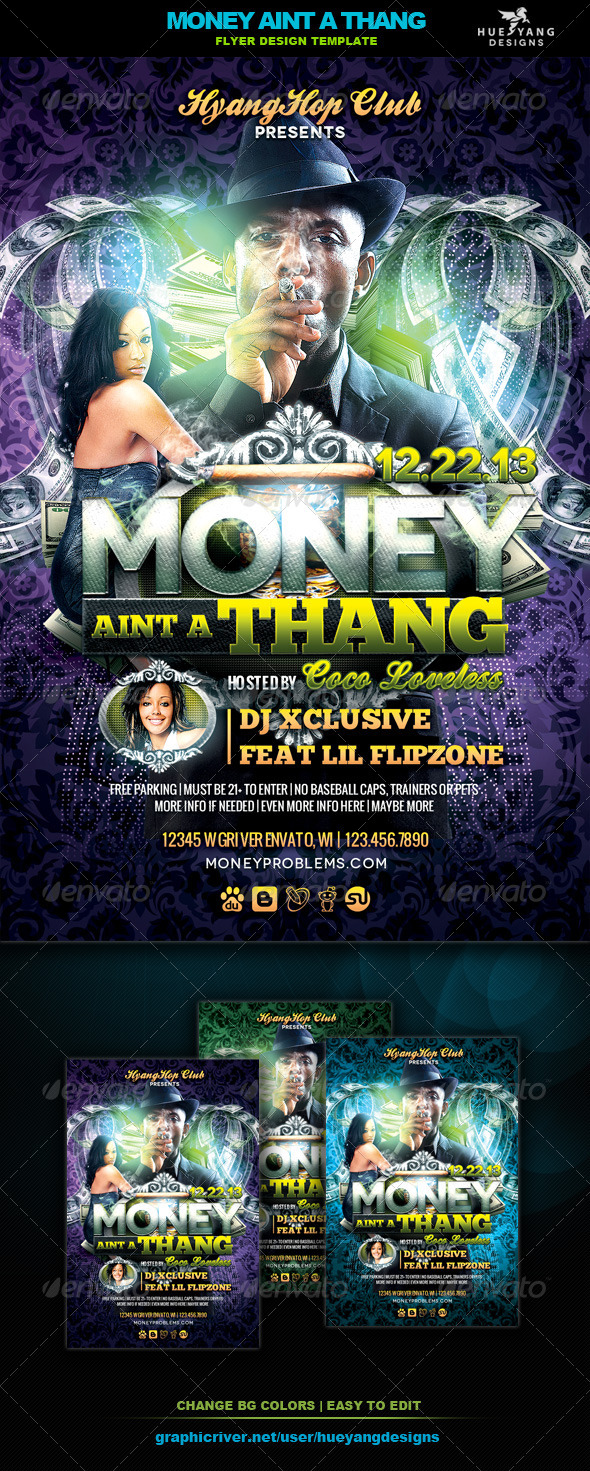 Money Aint A Thang Flyer - Clubs & Parties Events