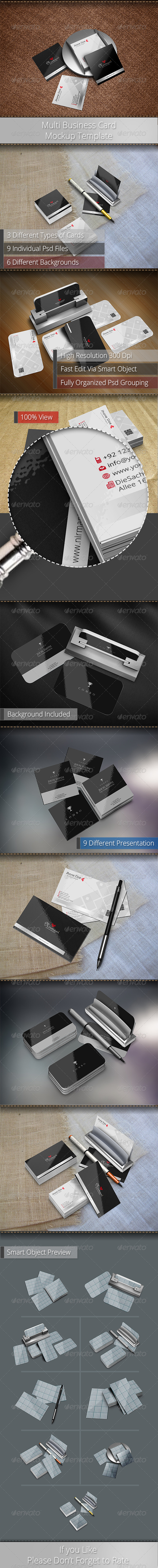 Multi Business Card Mockup Template - Business Cards Print