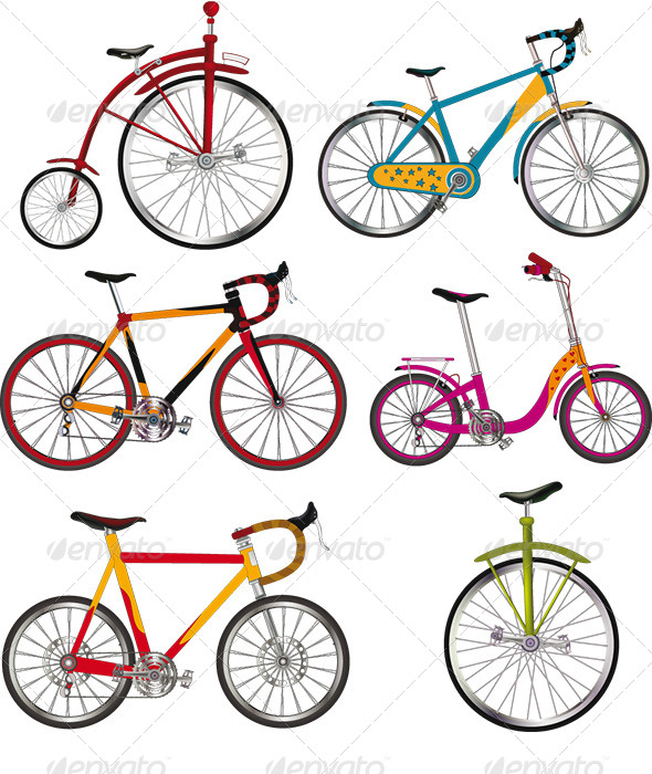 The Complete Set of Bicycles Clip Art - Objects Vectors