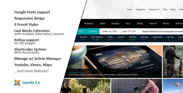 NEWS24 :: 4 in 1 News/Magazine Joomla Template - News / Editorial Blog / Magazine