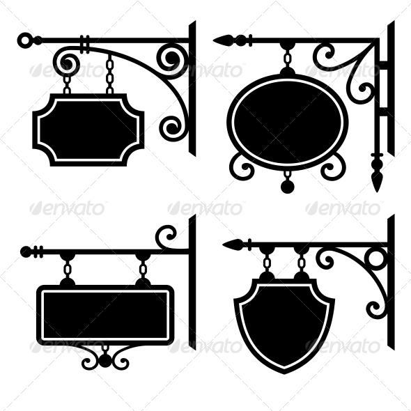 Set of Retro Graphic Forged Signboards - Decorative Symbols Decorative
