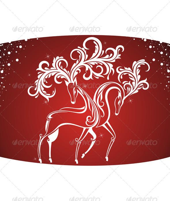 Christmas Card with Decorative Deers - Christmas Seasons/Holidays