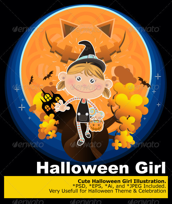 Smiling Halloween Girl with Pumpkin and Candy - People Characters