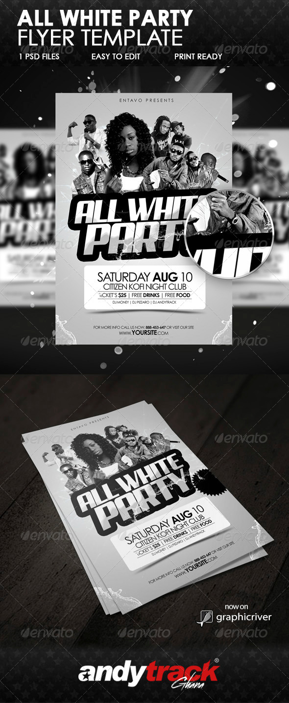 All White Party Flyer Template - Clubs & Parties Events