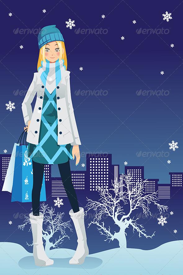 Winter Shopping Girl - Commercial / Shopping Conceptual