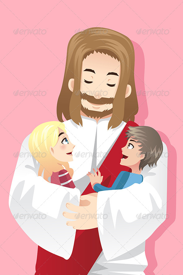 Jesus holding Children - Religion Conceptual