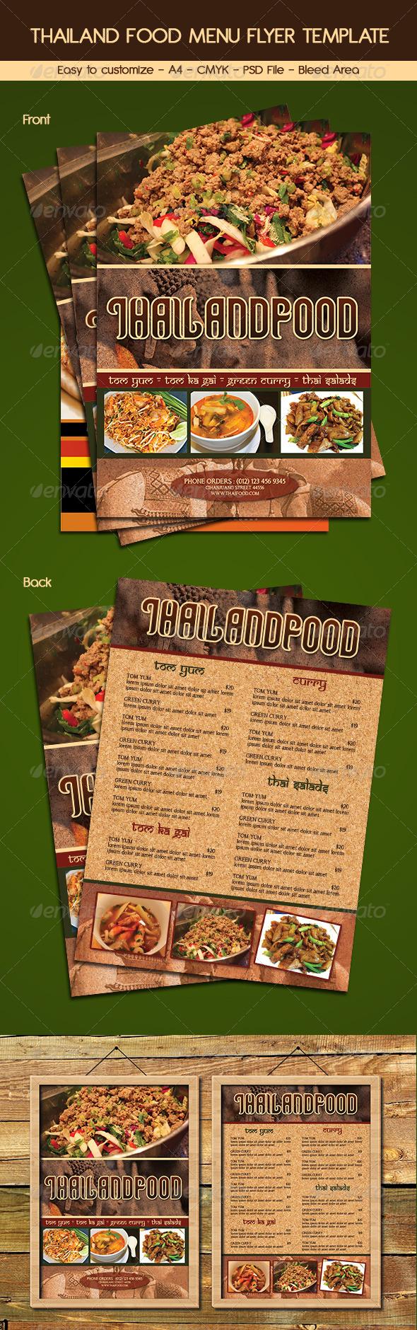 Thailand Food Menu Flyer Template - Food Menus Print Templates
