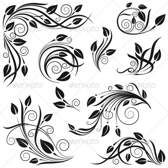 Floral Design Elements - Flourishes / Swirls Decorative